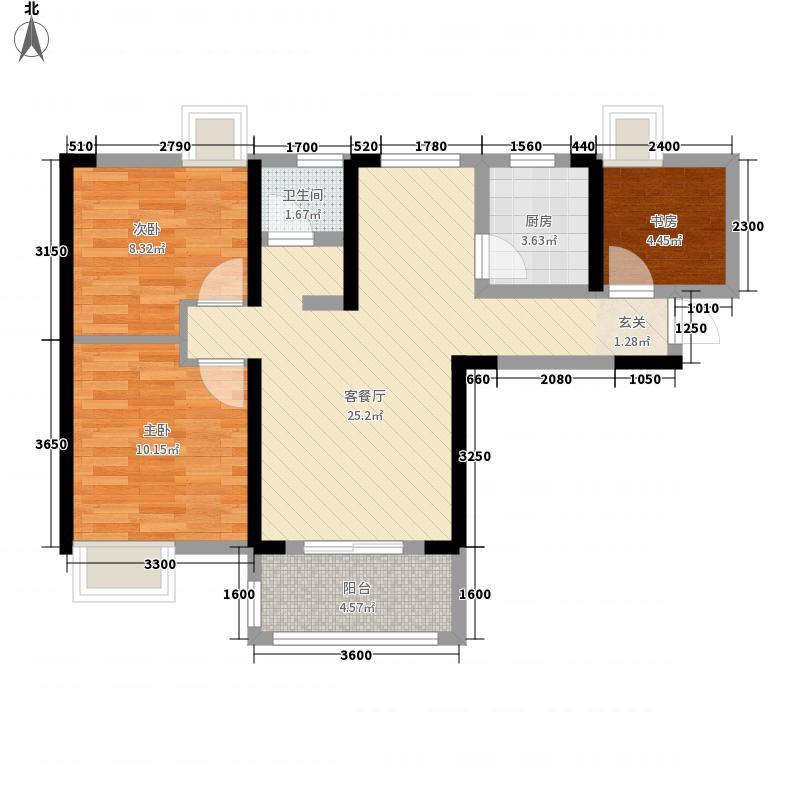 百步亭现代城四区3室1厅1卫1厨86.00㎡户型图