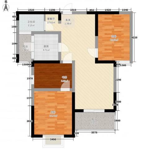 天龙居3室1厅1卫1厨90.00㎡户型图