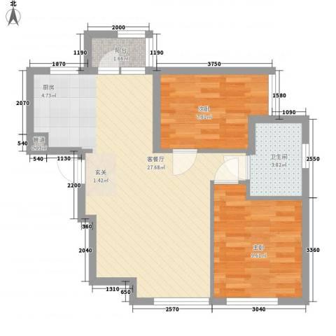 「大连天地」悦翠台Style2室1厅1卫0厨82.00㎡户型图
