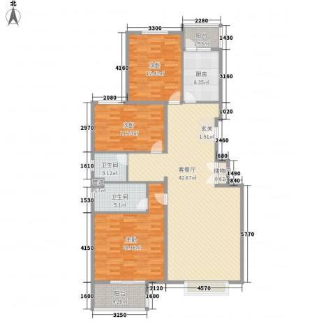 书海文园3室1厅2卫1厨133.00㎡户型图