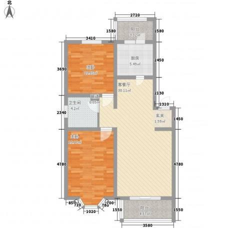 罗马花园二期2室1厅1卫1厨88.00㎡户型图