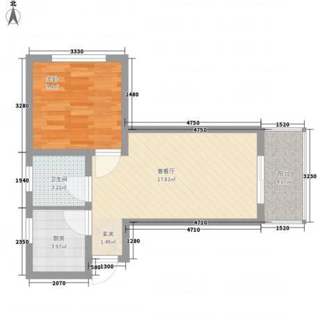 万翠苑1室1厅1卫1厨45.00㎡户型图