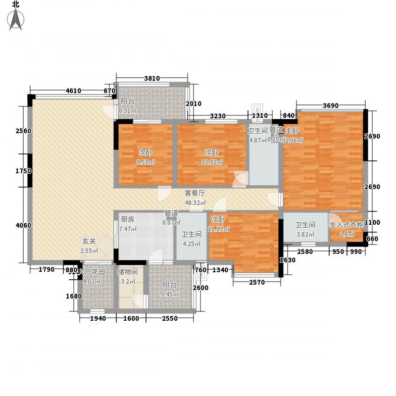 丰泰观山碧水178.40㎡13栋标准层03单元户型4室2厅3卫