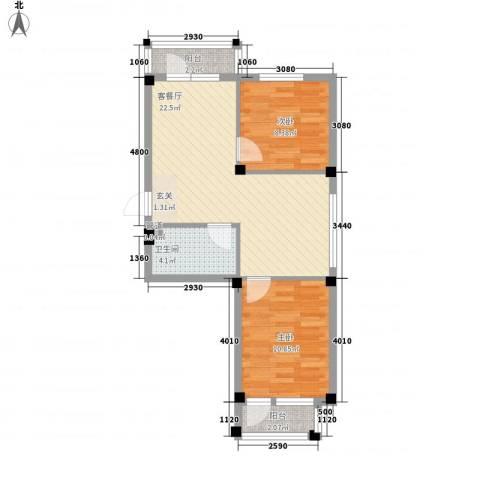 翰林苑2室1厅1卫0厨72.00㎡户型图