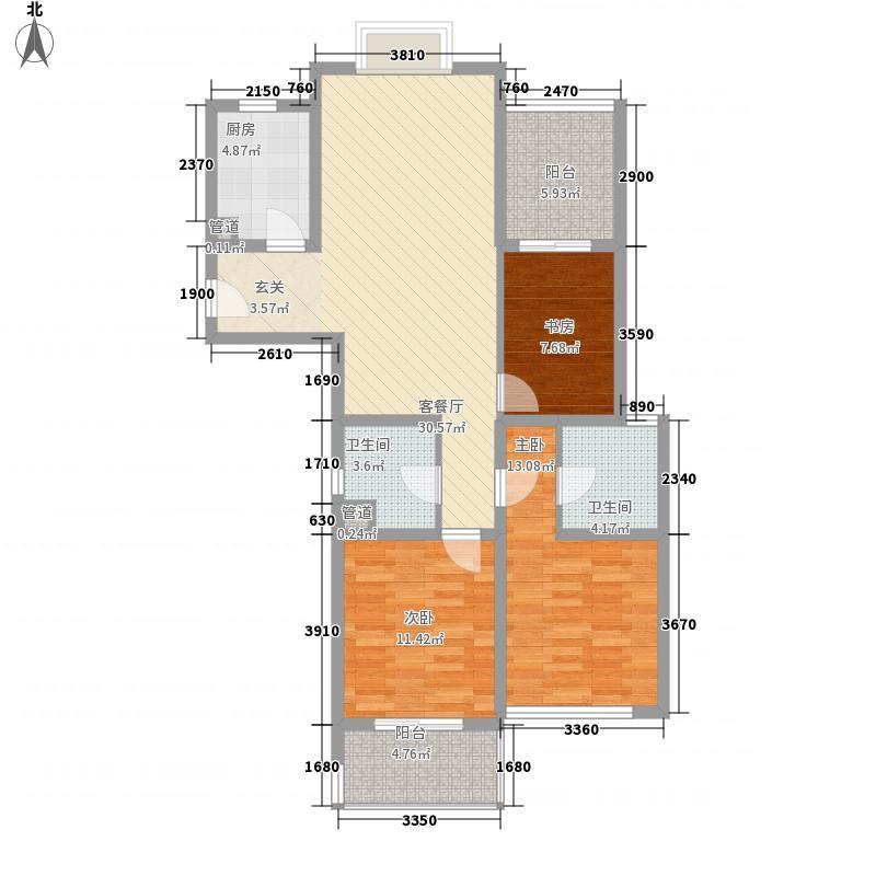 望湖名门125.00㎡R户型3室2厅2卫2厨