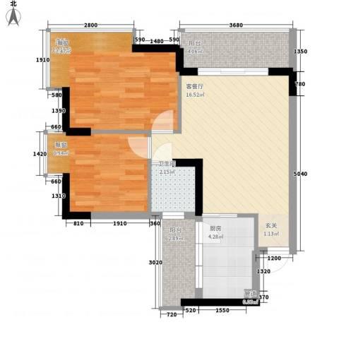 新怡苑2室1厅1卫1厨71.00㎡户型图