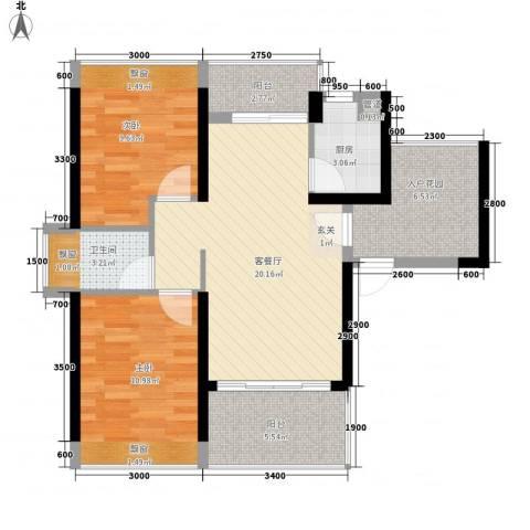 畔山名居・特区青年2室1厅1卫1厨76.00㎡户型图