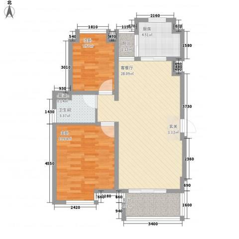 江阳苑2室1厅1卫1厨91.00㎡户型图