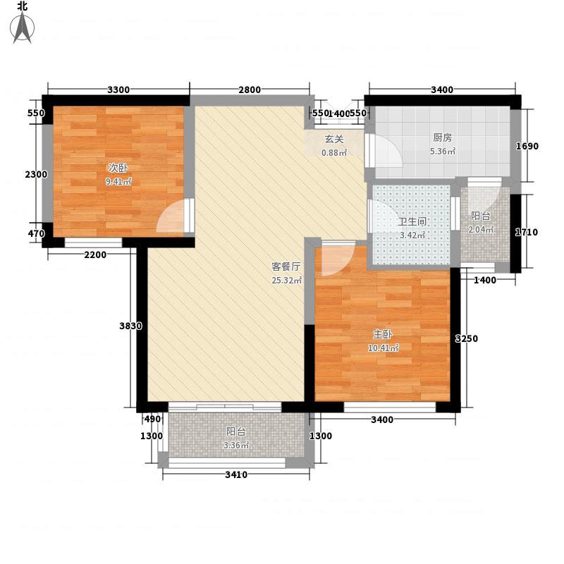 怡海园小区户型2室1厅1卫1厨