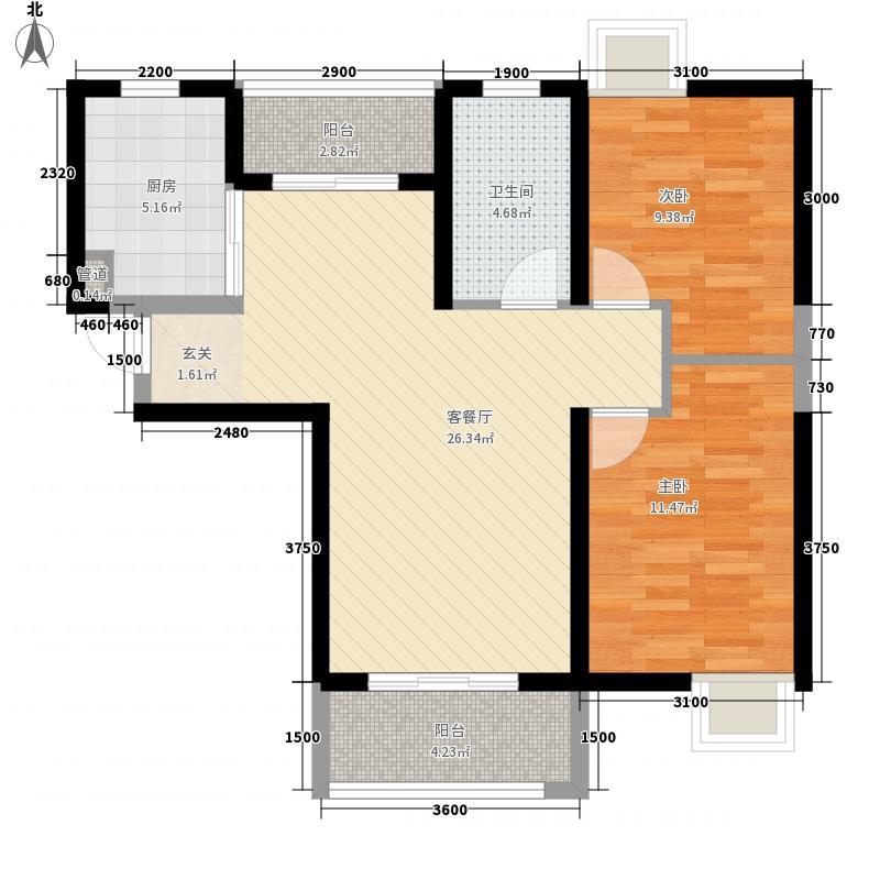 电建地产盛世江城2室1厅1卫1厨64.22㎡户型图