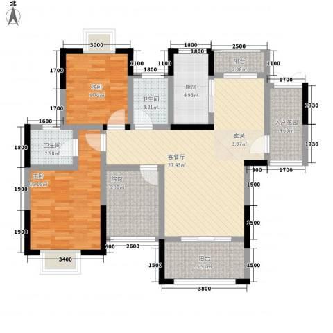 拓新香国城一期2室1厅2卫1厨107.00㎡户型图