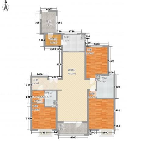 华发首府3室1厅2卫1厨123.70㎡户型图