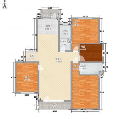 长电朗天国际4室2厅2卫0厨170.00㎡户型图