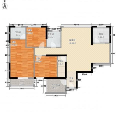 连城别苑四期3室1厅2卫1厨147.00㎡户型图