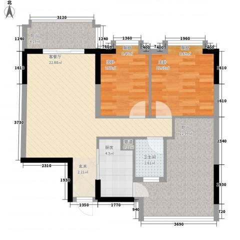 东江花苑2室1厅1卫1厨95.00㎡户型图