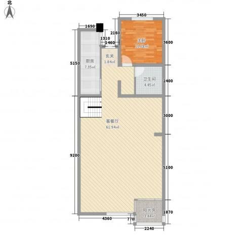 美好家园1室1厅1卫1厨122.00㎡户型图
