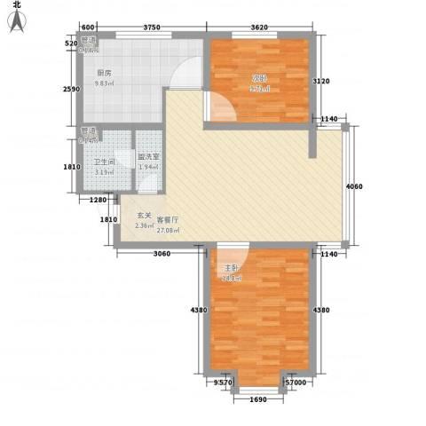 郦都花园2室1厅1卫1厨76.00㎡户型图