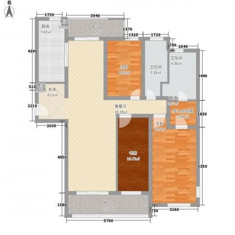 海上海新城3室1厅2卫1厨157.00㎡户型图