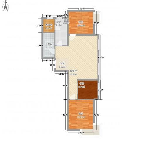 华发首府3室1厅1卫1厨114.00㎡户型图