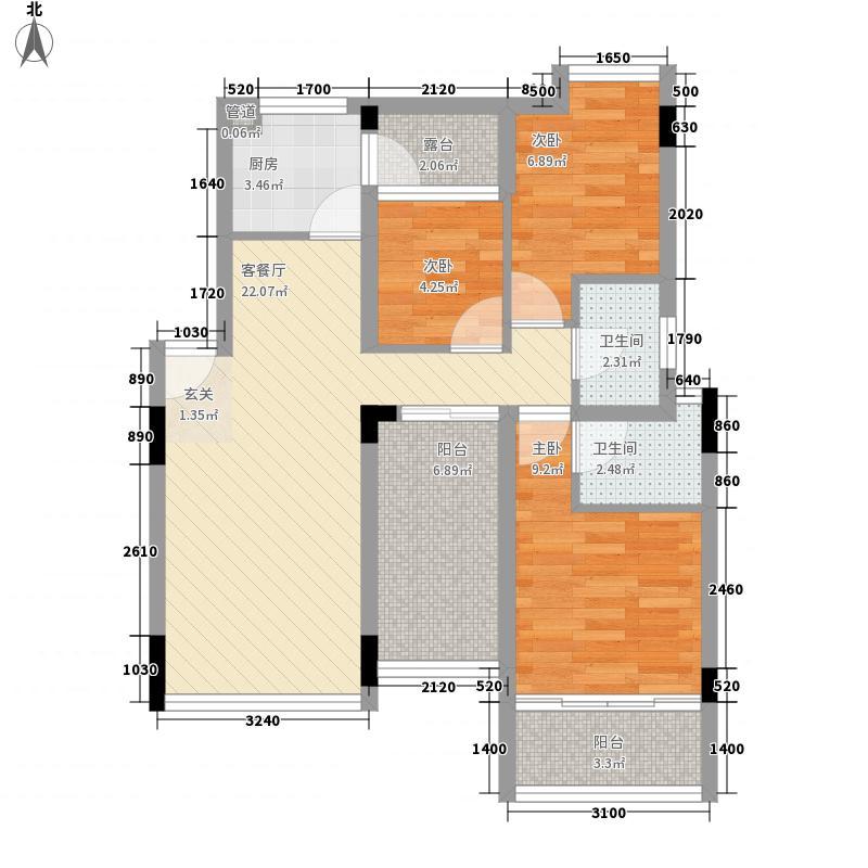 中海大山地98.21㎡中海大山地户型图25、26、27栋3室2厅2卫户型3室2厅2卫