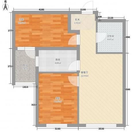 河畔新城五期2室1厅1卫1厨79.00㎡户型图