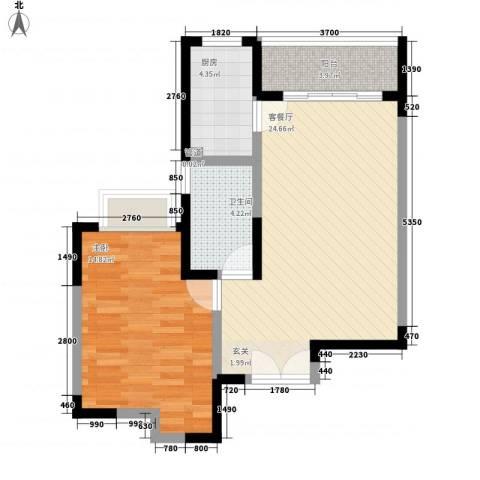 东城中心四期1室1厅1卫1厨52.04㎡户型图
