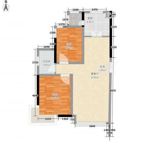 郦都花园2室1厅1卫1厨78.09㎡户型图