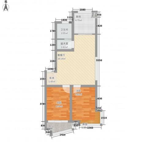 凤林工人新村2室1厅1卫1厨74.00㎡户型图
