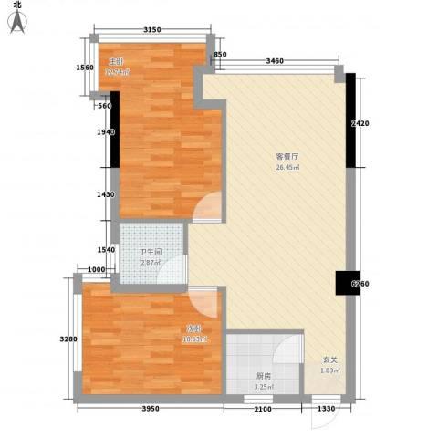 时代财富城2室1厅1卫1厨77.00㎡户型图