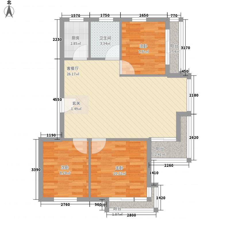 凤凰湖户型3室2厅1卫1厨