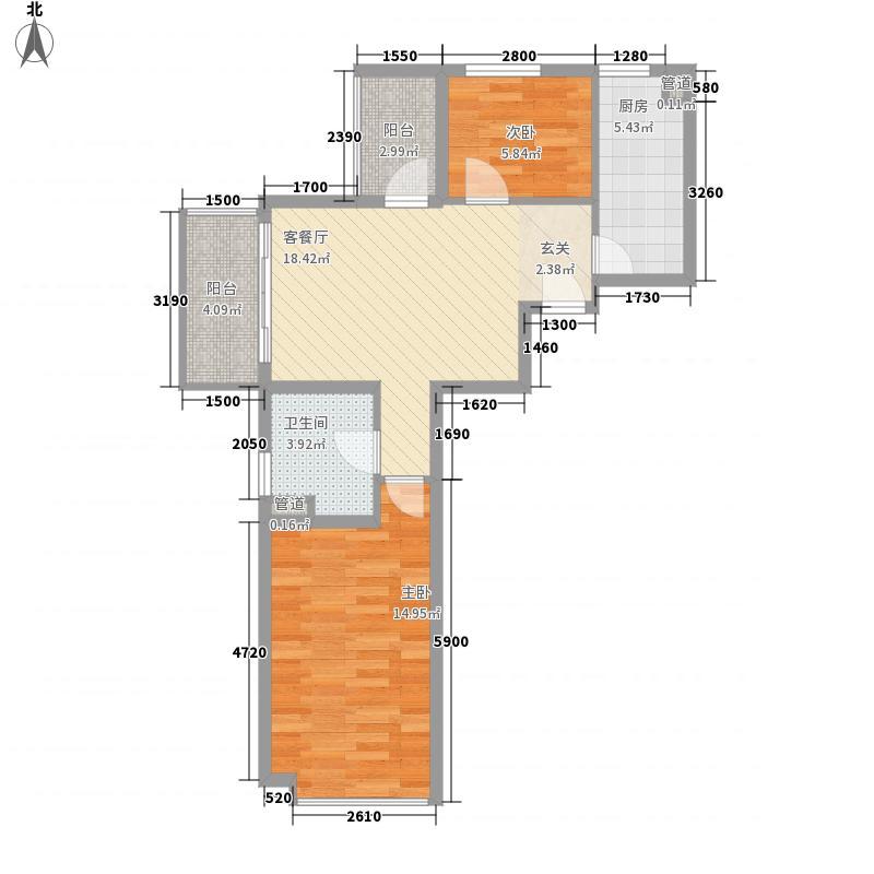 新弘国际阳光城7.48㎡D-3偶数层两居户型2室2厅1卫1厨