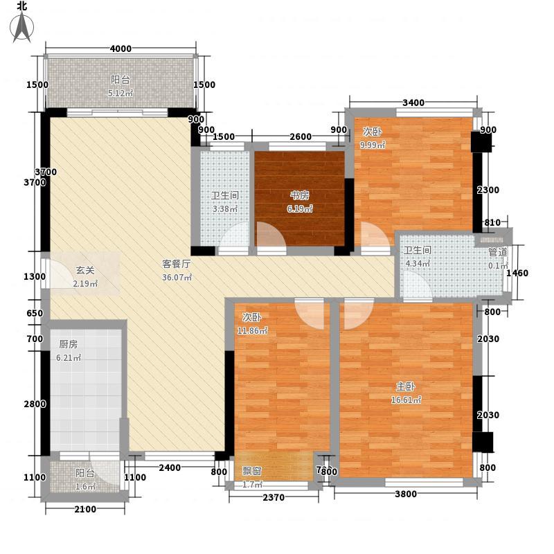 保利心语118.00㎡2#、3#号楼C户型4室2厅2卫1厨
