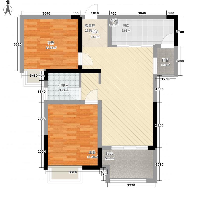 融汇半岛江上公馆72.00㎡一期高层5-10号楼标准层C户型2室2厅1卫1厨