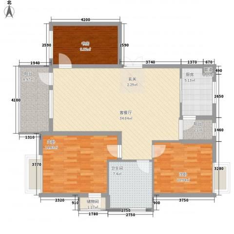 随缘河畔3室1厅1卫1厨92.14㎡户型图