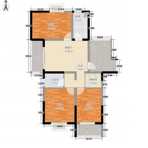 众兴华庭3室1厅1卫1厨136.00㎡户型图