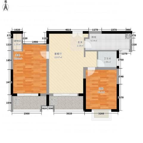 众兴华庭2室1厅1卫1厨98.00㎡户型图