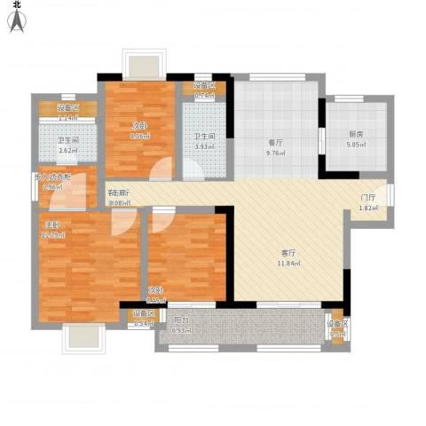 新城国际花都3室1厅2卫1厨126.00㎡户型图