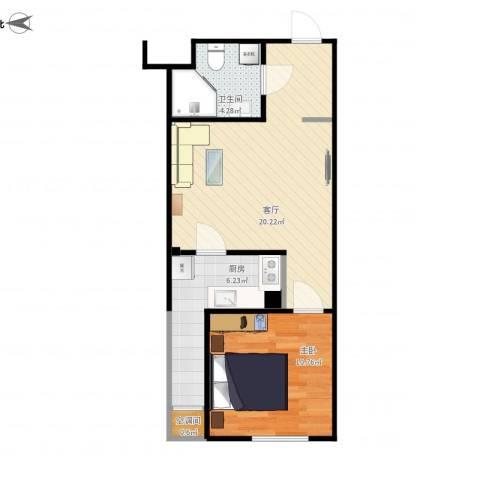 华鸿国际中心1室1厅1卫1厨58.00㎡户型图