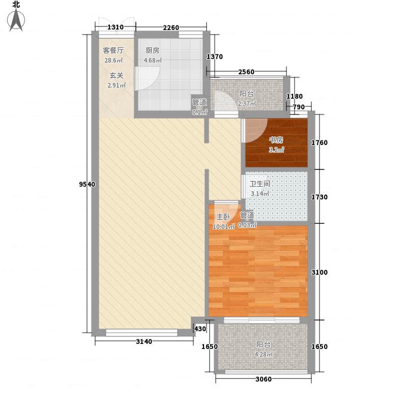 新弘国际阳光城7.51㎡C-2'奇数层两居户型2室2厅1卫1厨