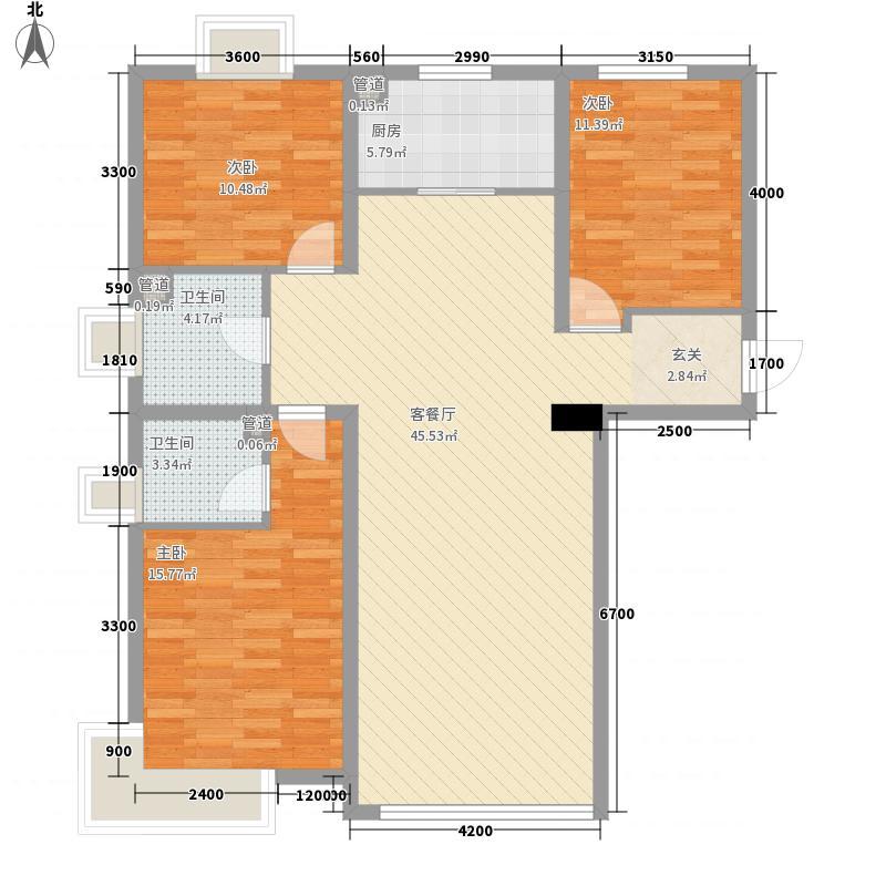 华发岭南荟08户型3室2厅2卫1厨