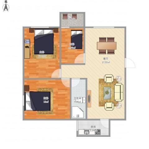 中海康城国际3室1厅1卫1厨92.00㎡户型图