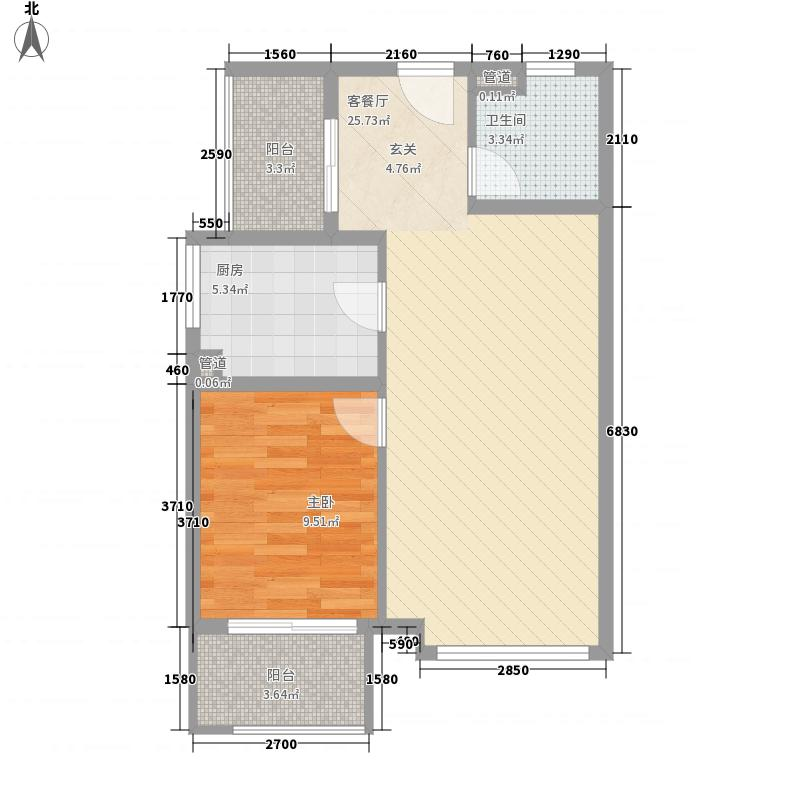 新弘国际阳光城72.28㎡B-2奇数层两居户型2室2厅1卫1厨