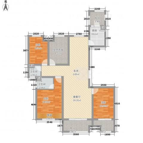 恒茂国际都会3室1厅2卫1厨150.00㎡户型图