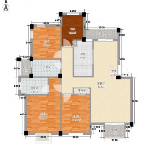 永达花园4室1厅2卫1厨141.00㎡户型图