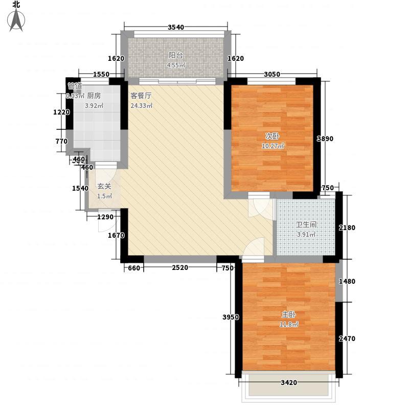 亚星金运外滩8.00㎡10、11、12号楼A3户型2室2厅1卫1厨