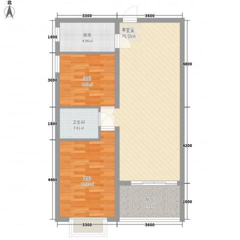南天・太阳城2室1厅1卫1厨95.00㎡户型图