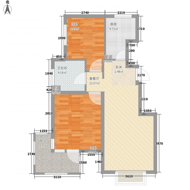 新弘国际阳光城2室1厅1卫1厨82.00㎡户型图