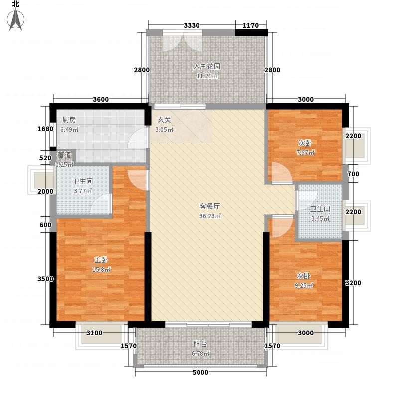 中核・半岛城邦13.58㎡A3户型3室2厅2卫1厨
