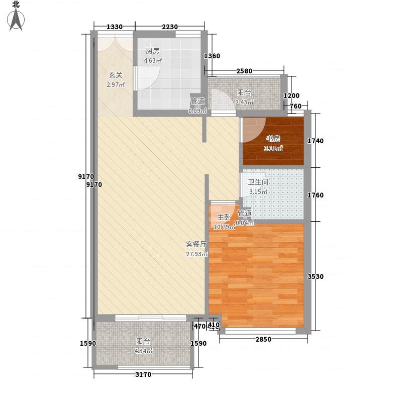 新弘国际阳光城2室1厅1卫1厨56.51㎡户型图