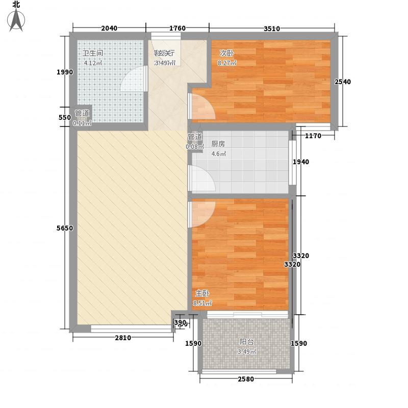 新弘国际阳光城2室1厅1卫1厨49.25㎡户型图